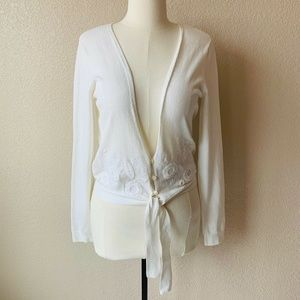 Oilily Cardigan Sweater Sz Medium Solid White Tied